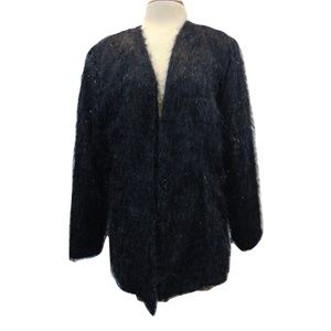 Russell Kemp black fuzzy jacket blazer Sz 16